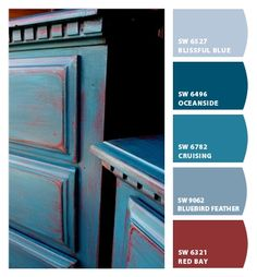 Peacock Blue Over Red Painted Dresser Peacock Blue Paint, Blue Paint Colors, Blue Color Schemes, Paint Colors For Home, House Colors, Teal Yellow, Red And Teal, Bedroom Red, Master Bedroom