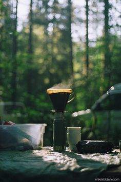Pour-over coffee at the campsite! For our next camping trip.