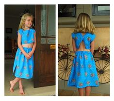 Best little Girls Summer fashion Crop Top and Pull-on Skirt Pattern. For ages 6-7, 7-8 & 8-9. Cool as a cucumber open back top with one button closure. Skirt has slits at both sides with plenty of room for a summer breeze to keep you cool.  SUPER EASY TO SEW.  Your young girls will feel ready for their summer holiday in the Seychelles or running on the beaches in Hawaii with 2 or 3 of these great outfits in mix and match.  This amazing little Sewing Pattern is so super easy to sew you could…