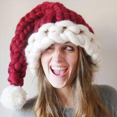 Chunky Knit Santa Hat #HatsForWomenHandmade