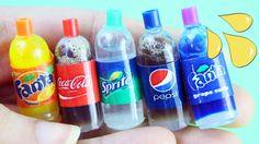 DIY Realistic Miniature doll soda cola pop bottles tutorial - Real liquid inside  - simplekidscrafts - YouTube