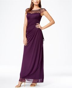 Xscape Cap-Sleeve Illusion Beaded Gown - Dresses - Women - Macy's