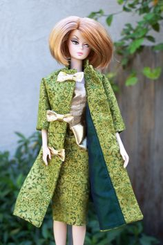 """OOAK """"Gilded Holly"""" cocktail holiday dress and coat for Silkstone Barbie by Woven in Time. $35.00, via Etsy."""