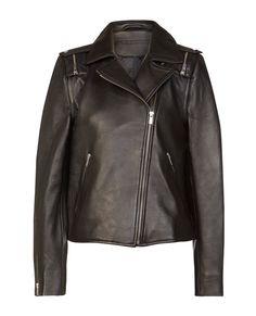 Blouson biker femme, cuir noir Vobine   Comptoir des Cotonniers