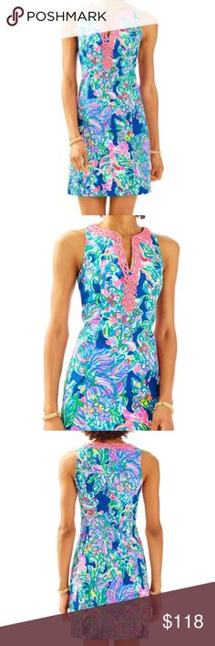 Lilly Pulitzer Ryder Shift Dress The Ryder Shift is simply LILLY. This bra-friendly printed shift dress has a notched neckline with beading details. When planning a spring getaway, be sure to pack an easy printed shift, you'll be surprised how many times you wear it.  Shift Dress With Cording And Beading Details Around A Notched Neckline. Length: Above The Knee. Vintage Dobby - Printed (100% Cotton). Hand Wash Cold. Color: Exotic Escapade Lilly Pulitzer Dresses Midi