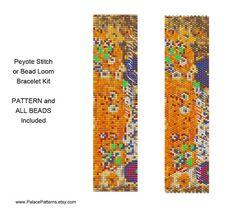 Klimt 7 Bracelet Kit for Peyote Stitch or Bead Loom - Includes Pattern and Beads - Bead Loom or Peyote Bracelet Beadweaving Kit