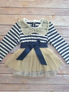 Navy+Blue+Gold+Toddler+Baby+Girl+Dress+by+AvaMadisonBoutique,+$39.95. Too adorable.