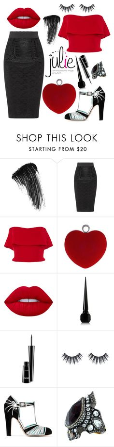 """""""Julie's BLACK & red #3"""" by juliedebbas ❤ liked on Polyvore featuring Eyeko, Dolce&Gabbana, Reem Acra, WithChic, Lime Crime, Christian Louboutin, MAC Cosmetics, Gucci and Sevan Biçakçi"""