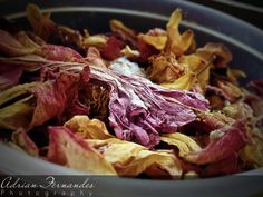 Hibiscus and Rose petals kept for drying