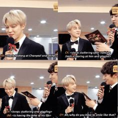 Ahhhhhhh so cute EXO Chanyeol getting flustered at BTS Jimin's smile