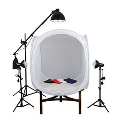 PhotoGeeks TT2/3L/90 Continuous Lighting Tabletop Photography Kit / 90 x 90cm Light Tent / 3 x 35w Fluorescent 5500k Light Bulbs / 3 Lights / Includes Boom Arm Stand