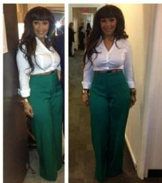 The Zimbabwean designer scored a huge PR boost when Erica from Mary Mary wore her green high waisted pants on . Love Fashion, Plus Size Fashion, Girl Fashion, Autumn Fashion, Fashion Trends, Mary Mary, Dress Attire, Work Attire, Erica Campbell