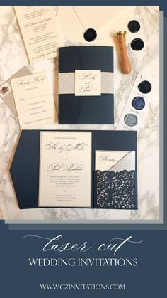 Navy and Silver glitter Laser Invitation! This lace details gives this set such an elegant look. Add a pop of glitter with the silver mat and belly band. Seal the deal with a custom wax seal! Pocket Invitation, Laser Cut Invitation, Invitation Envelopes, Invitation Design, Glitter Invitations, Pocket Wedding Invitations, Unique Invitations, Wedding Stationery, Blue Wedding
