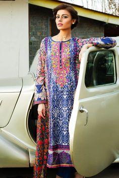Khaadi - F15003B (NAVY) - LAWN - Spring/ Summer 2015 - Unstitched - Woman