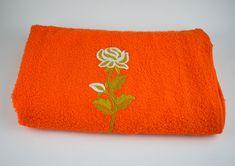 Dickies Orange Bath Towel - Vintage Retro Rose Applique Cotton - Made in Australia - Brand New!