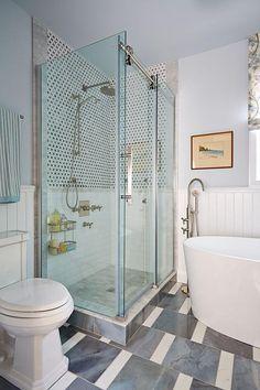 Glass enclosed modern sliding door shower http://www.sarahrichardsondesign.com/get-inspired/makeovers/2013/12/13/rub-dub-dub