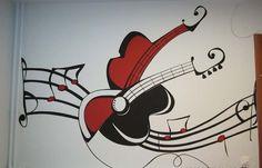 "Boys bedroom wall mural, ""Electric guitar"" Perete pictat dormitor baiat, ""Electric guitar"""