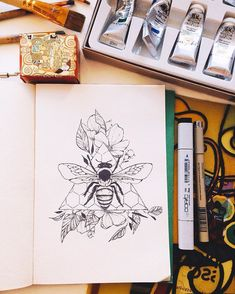 New Flowers Drawing Ink Doodles Ideas Doodle Drawing, Bee Drawing, Plant Drawing, Doodle Art, Drawing Flowers, Tattoo Drawings, Body Art Tattoos, Art Drawings, Tatoos