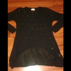 Blouse Black studded blouse  New without tags  Sz large Tops Blouses
