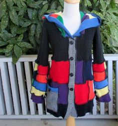 Recycled Sweater Button Up Hoodie Pixie Hood Patchwork Rainbow Herringbone Medium Black Upcycled Clothing