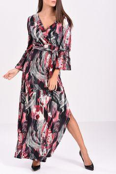 Φόρεμα maxi κρουαζέ με ζώνη στην μέση 5ed352010a3