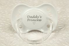 This adorable baby white Daddys Princess Dummy is simply adorable.  The perfect pacifier for any adult baby, little, or middle.  This is a NUK size 3