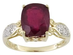 Mahaleo (R) Ruby 4.73ct Cushion With Diamond Accent 10k Yellow Gold Ring