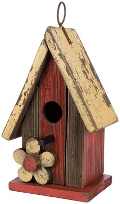 Carson Home Accents Birdhouse, High, Yellow Flower Wooden Bird Houses, Bird Houses Painted, Bird Houses Diy, Bird House Feeder, Bird Feeders, Diy Wood Projects, Wood Crafts, Homemade Bird Houses, Bird House Plans
