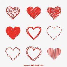Pack de bocetos de corazones rojos Vector Gratis