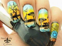 Safari Silhouette Mirror Stamping #nails #nailart #nailstamping #moyoulondon