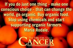 Go organic! Buy organic food. Stop using chemicals and start supporting organic farmers. Nice quote from Maria Rodale. // The Truth About Cancer