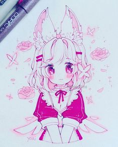 Pink ink won the poll in my story by a landslide.I kinda wanted to troll everyone and do it in green or something but I'm trying to be nice this y. Anime Drawings Sketches, Anime Sketch, Kawaii Drawings, Manga Drawing, Manga Art, Cute Drawings, Kawaii Anime Girl, Kawaii Art, Anime Art Girl