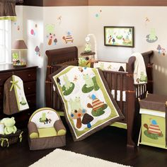 Cute Modern Baby Cribs for Boys and Girls : Cute Brown Modern Baby Boys Crib Bedding Design with Cute Animals Wall Sticker and Mahogany Wooden Floor also Beige Wall Painting