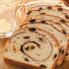 Swirled Cinnamon Raisin Bread Rasin Bread, Banana Bread, Pain Aux Raisins, Breakfast Casserole With Bread, Cinnamon Raisin Bread, Bread Machine Recipes, Dessert Bread, Sweet Bread, Recipes