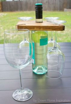 we need this carrier wine bottle glasses diy, diy, woodworking projects Bottle Glasses Diy, Wine Bottle Holders, Glass Holders, Wine Bottle Crafts, Easy Woodworking Projects, Diy Wood Projects, Woodworking Tools, Wood Crafts, Bois Diy