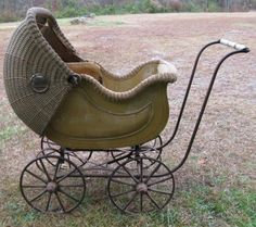 The 1880's to the 1890's was the golden era of the Victorian antique wicker strollers, commonly seen with high-on spoke wheels.  During the 1880s to 1890s, these beautiful baby carriages made a strong hold in the market. Buggies also offered a fashion statement and the choice for finer and elegant things women wanted for their baby. My Grandma had one and I pushed my doll in it.