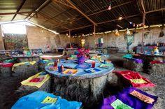 Colourful Hay Bale party furniture
