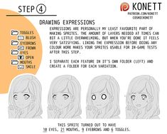 """cosmickonett: """" Patreon TUTORIAL: Visual Novel Sprites The Basics This tutorial was made possible by my patrons. If you enjoyed this tutorial and would like to see more like it in the future,. Comic Tutorial, Manga Tutorial, Character Inspiration, Character Art, Character Design, Drawing Tips, Drawing Reference, Novel Characters, Drawing Expressions"""