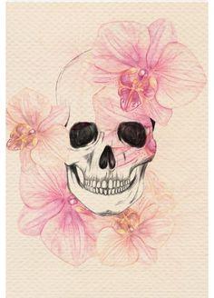 Dessin crâne orchidées