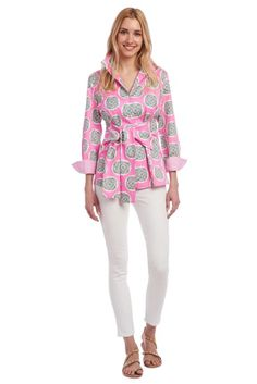 This pink blouse has a multi-colored Taj medallion print, a fold down collar, and pearl buttons down the front. It has a wide sash that ties at the waist. Tie Blouse, Sash, The Selection, Blouses, Cotton, Pink, Shopping, Pearl, Tops