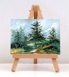 The Beauty Of Pinetrees. 3x4 inch  original miniature oil