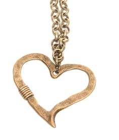 Antique Brass Heart Necklace - My Favorite Beads