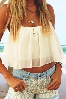 Tie-Up Solid Color Chiffon Tank Top