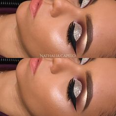 Silver glitter cut and crease