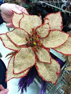 Craft Store Burlap Flower Ornament - so pretty!! holiday DIY using Mod Podge - click thru for the full tutorial! #modpodge #modpodgeholiday