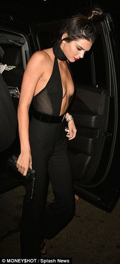 Kendall Jenner shows her chest in plunging jumpsuit as she celebrates 20th birthday | Daily Mail Online
