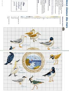 Cross Stitch Sea, Cross Stitch Patterns, Sea And Ocean, Paper Models, Le Point, Cross Stitching, Nautical, Creations, Birds