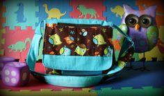 Sac messager pour enfant - Sac à bandoulière turquoise - Sac hiboux de la boutique Mafelou sur Etsy