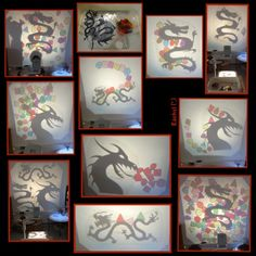 """Chinese dragon silhouettes with colourful shapes on the OHP - from Rachel ("""",) Reggio Inspired Classrooms, Overhead Projector, Dragon Silhouette, Chinese Festival, Teacher Inspiration, Chinese Dragon, Eyfs, Activities To Do, After School"""