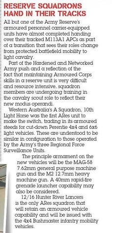 Aussie reserves lose armoured vehicles. Published in issue #12, December 2006